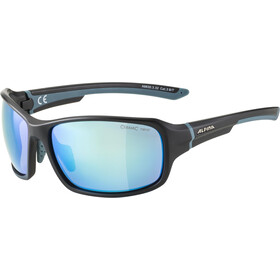 Alpina Lyron Brille black matt-dirt blue/blue mirror